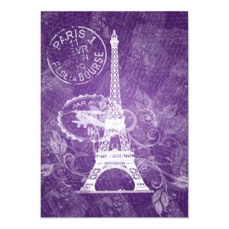 Elegant Bridal Shower Romantic Paris Purple Card