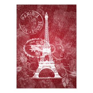 Elegant Bridal Shower Romantic Paris Red Card