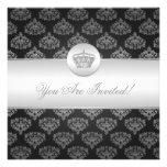 Elegant Bridal Shower Royal Crown Black Personalized Announcements