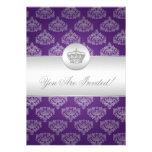 Elegant Bridal Shower Royal Crown Purple Card