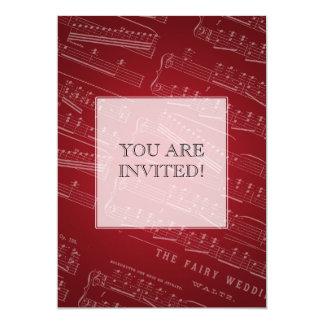 Elegant Bridal Shower Sheet Music Red 5x7 Paper Invitation Card