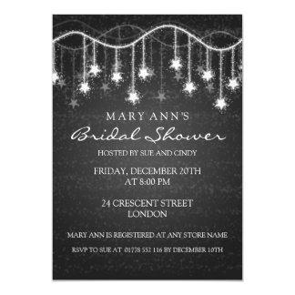 Elegant Bridal Shower Shimmering Stars Black Invitation