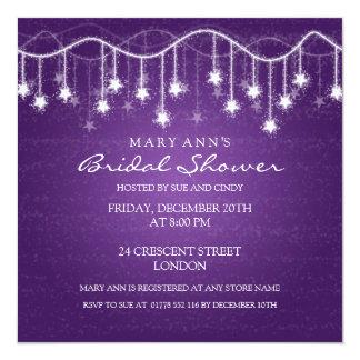 Elegant Bridal Shower Shimmering Stars Purple 5.25x5.25 Square Paper Invitation Card