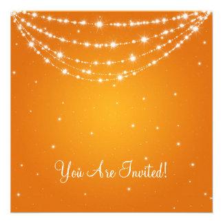 Elegant Bridal Shower Sparkling Chain Orange Announcement