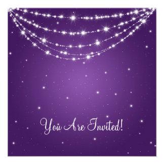 Elegant Bridal Shower Sparkling Chain Purple Custom Invites