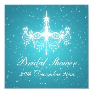 Elegant Bridal Shower Sparkling Chandelier Blue Card