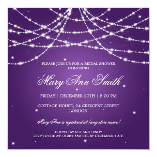 Elegant Bridal Shower Sparkling String Purple Custom Invitations