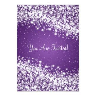 Elegant Bridal Shower Sparkling Wave Purple Card