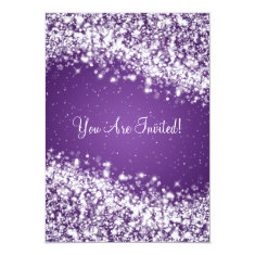 Elegant Bridal Shower Sparkling Wave Purple 5x7 Paper Invitation Card