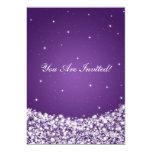 Elegant Bridal Shower Star Sparkle Purple 5x7 Paper Invitation Card