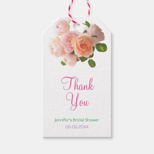 Elegant Bridal Shower Thank You Script Watercolor Gift Tags