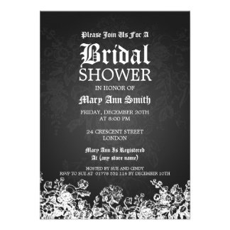 Elegant Bridal Shower Victorian Flourish Black Custom Announcement