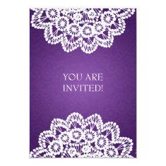 Elegant Bridal Shower Vintage Lace Purple 5x7 Paper Invitation Card