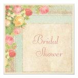 Elegant Bridal Shower Vintage Roses 5.25x5.25 Square Paper Invitation Card