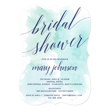 Wedding Themed Elegant Bridal Shower Watercolor Wedding Party Card