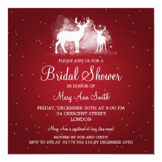Elegant Bridal Shower Winter Deer Sparkle Red Card