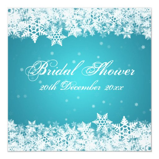 Elegant Bridal Shower Winter Snowflakes Blue 5.25x5.25 Square Paper Invitation Card
