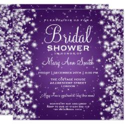 Elegant Bridal Shower Winter Sparkle Purple Invitation