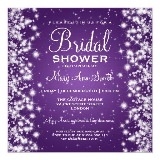 Elegant bridal shower winter sparkle purple custom invitations for Designer bridal shower invitations