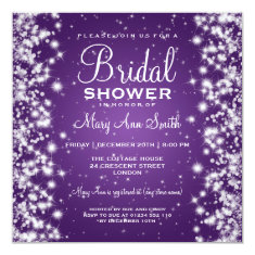 Elegant Bridal Shower Winter Sparkle Purple 5.25x5.25 Square Paper Invitation Card