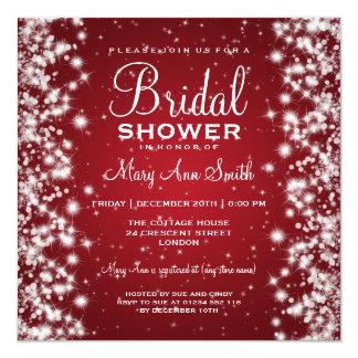 "Elegant Bridal Shower Winter Sparkle Red 5.25"" Square Invitation Card"