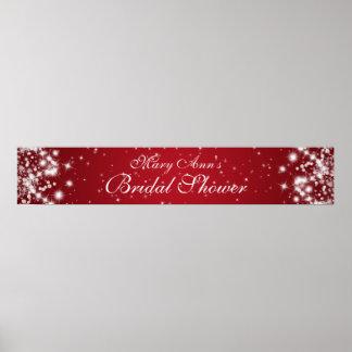 Elegant Bridal Shower Winter Sparkle Red Poster
