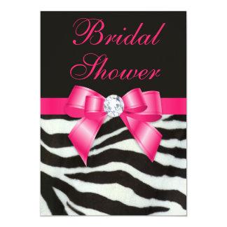 Elegant Bridal Shower Zebra Stripes Hot Pink Bow Card