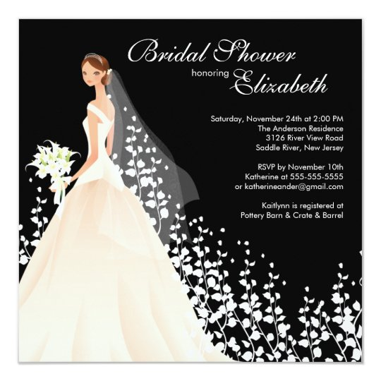 Elegant Bride Bridal Shower Invitation Black White
