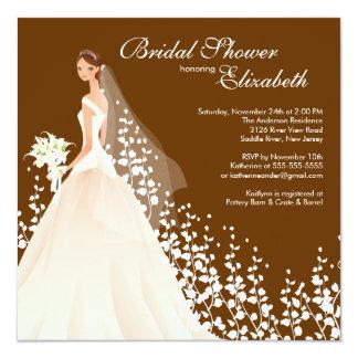 Elegant Bride Bridal Shower Invitation Brown White
