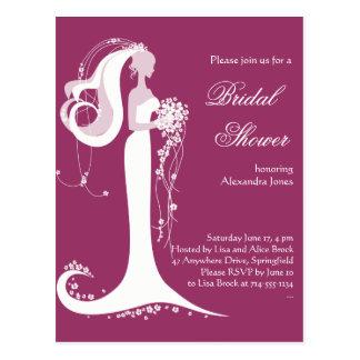 Elegant Bride Bridal Shower Party Invitation 3 Postcard