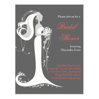 Elegant Bride Bridal Shower Party Invitation 6 Postcard