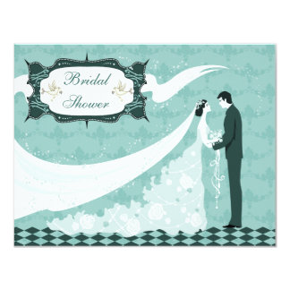 Elegant Bride & Groom Teal Vector Bridal Shower Card