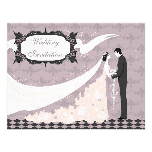 Elegant Bride & Groom Vector Wedding Announcement