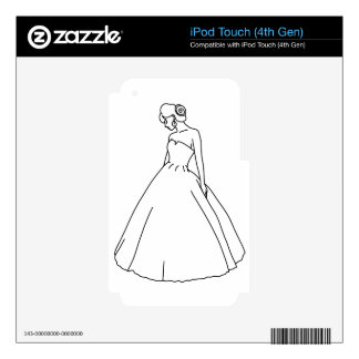 Elegant Bride Line Art Decals For iPod Touch 4G