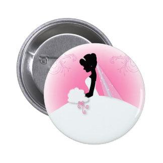 Elegant bride silhouette Bridal Shower Pinback Buttons
