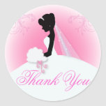 Elegant bride silhouette Bridal Shower Stickers