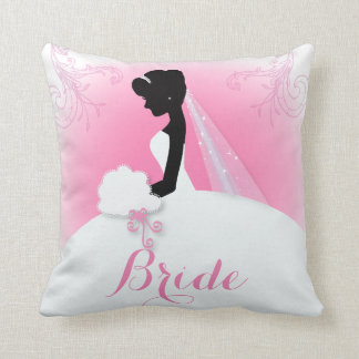 Elegant bride silhouette bride throw pillow