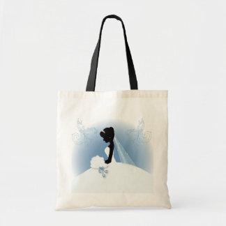 Elegant Bride Silhouette Wedding Favor Budget Tote Bag