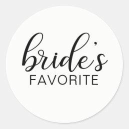 Elegant BRIDE's FAVORITE Wedding Gift Favors Classic Round Sticker