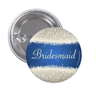 Elegant Bridesmaid Favor Dazzling Sparkles Blue Pinback Buttons