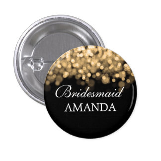 Elegant Bridesmaid Favor Gold Lights Button