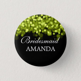 Elegant Bridesmaid Favor Green Lights Pinback Button