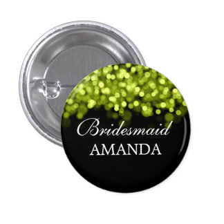 Elegant Bridesmaid Favor Green Lights Pinback Button