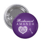 Elegant Bridesmaid Favor Key To My Heart Purple Buttons