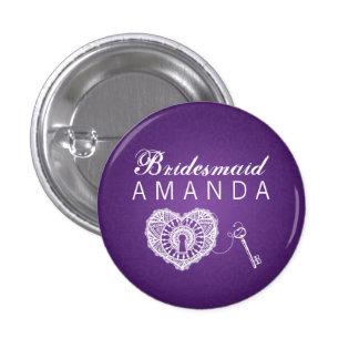 Elegant Bridesmaid Favor Key To My Heart Purple Pinback Button