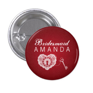 Elegant Bridesmaid Favor Key To My Heart Red Button