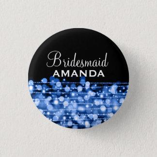 Elegant Bridesmaid Favor Party Sparkles Blue Button