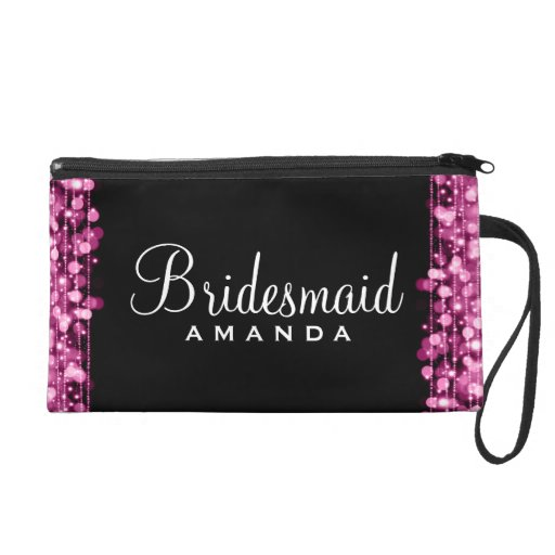 Elegant Bridesmaid Favor Party Sparkles Pink Wristlet