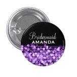 Elegant Bridesmaid Favor Party Sparkles Purple Button