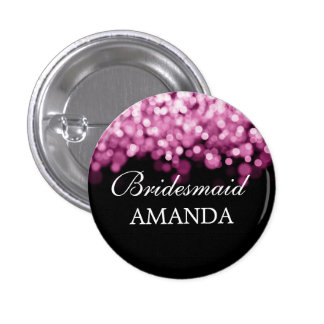 Elegant Bridesmaid Favor Pink Lights Pinback Button
